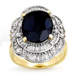 7.85 ctw Blue Sapphire & Diamond Ring 14k Yellow Gold - REF-135H5R