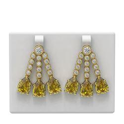 19.62 ctw Canary Citrine & Diamond Earrings 18K Yellow Gold - REF-404H5R