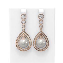 3.8 ctw Diamond & Pearl Earrings 18K Rose Gold - REF-446A2N