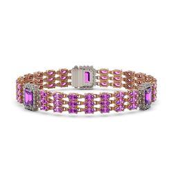 22.77 ctw Amethyst & Diamond Bracelet 14K Rose Gold - REF-327N3F