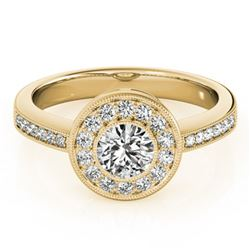 0.8 ctw Certified VS/SI Diamond Halo Ring 18k Yellow Gold - REF-97A8N