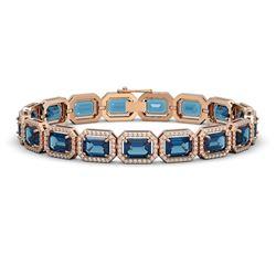 25.36 ctw London Topaz & Diamond Micro Pave Halo Bracelet 10k Rose Gold - REF-345G5W