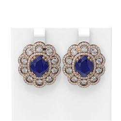 12.21 ctw Sapphire & Diamond Earrings 18K Rose Gold - REF-368A4N