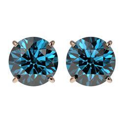 2.50 ctw Certified Intense Blue Diamond Stud Earrings 10k Rose Gold - REF-228W3H