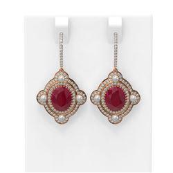 9.96 ctw Ruby & Diamond Earrings 18K Rose Gold - REF-336M4G