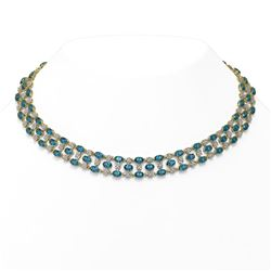 61.73 ctw London Topaz & Diamond Necklace 10K Yellow Gold - REF-527K3Y