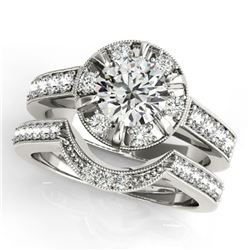 2.35 ctw Certified VS/SI Diamond 2pc Wedding Set Halo 14k White Gold - REF-418X9A