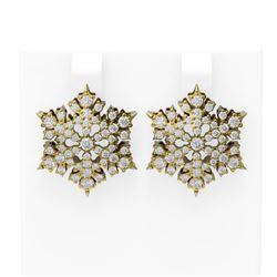 2.75 ctw Diamond Earrings 18K Yellow Gold - REF-192N8F