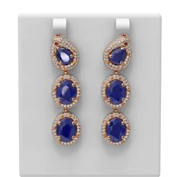 21.3 ctw Sapphire & Diamond Earrings 18K Rose Gold - REF-467K6Y