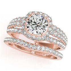 2.19 ctw Certified VS/SI Diamond 2pc Wedding Set Halo 14k Rose Gold - REF-354Y5X