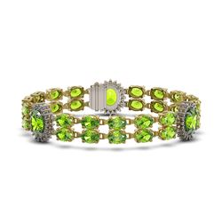 29.69 ctw Peridot & Diamond Bracelet 14K Yellow Gold - REF-242G3W