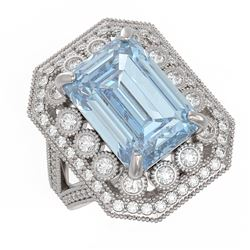 12.49 ctw Certified Sky Topaz & Diamond Victorian Ring 14K White Gold - REF-200H5R