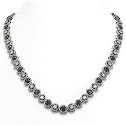 23.95 ctw Black & Diamond Micro Pave Necklace 18K White Gold - REF-1453Y6X