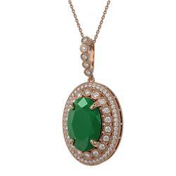 18.25 ctw Emerald & Diamond Victorian Necklace 14K Rose Gold - REF-690X9A