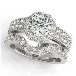 1.69 ctw Certified VS/SI Diamond 2pc Wedding Set Halo 14k White Gold - REF-307H3R