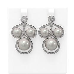2.61 ctw Diamond & Pearl Earrings 18K White Gold - REF-298R4K