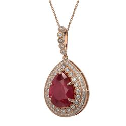 15.87 ctw Certified Ruby & Diamond Victorian Necklace 14K Rose Gold - REF-330G2W