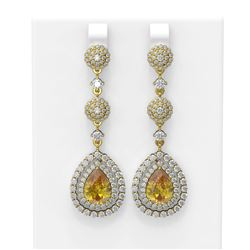 10.27 ctw Canary Citrine & Diamond Earrings 18K Yellow Gold - REF-374Y4X