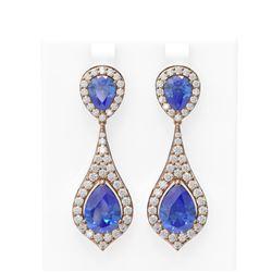 11.4 ctw Tanzanite & Diamond Earrings 18K Rose Gold - REF-525W5H