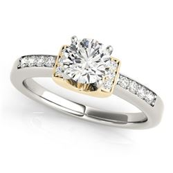 0.61 ctw Certified VS/SI Diamond Solitaire Ring 18k 2Tone Gold - REF-89N3F