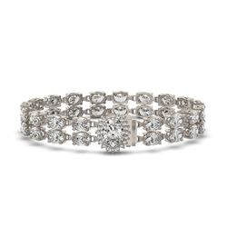 13.54 ctw Oval Diamond Bracelet 18K White Gold - REF-1529H6R