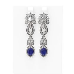 8.66 ctw Sapphire & Diamond Earrings 18K White Gold - REF-540N9F