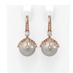 1 ctw Diamond & Pearl Earrings 18K Rose Gold - REF-129G8W