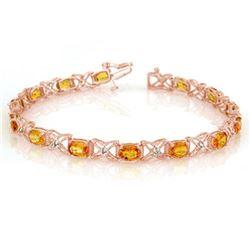 10.15 ctw Yellow Sapphire & Diamond Bracelet 18k Rose Gold - REF-163X6A