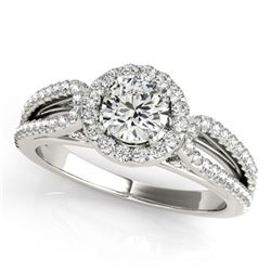 0.75 ctw Certified VS/SI Diamond Halo Ring 18k White Gold - REF-71G9W