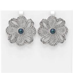 9 ctw Diamond & Pearl Earrings 18K White Gold - REF-801N8F