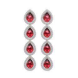 7.88 ctw Tourmaline & Diamond Micro Pave Halo Earrings 10k White Gold - REF-200G2W