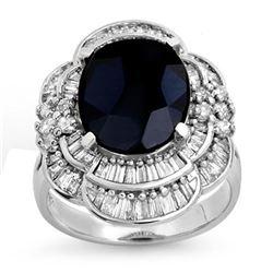 7.85 ctw Blue Sapphire & Diamond Ring 18k White Gold - REF-166M4G