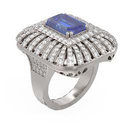 7.27 ctw Tanzanite & Diamond Ring 18K White Gold - REF-527M3G