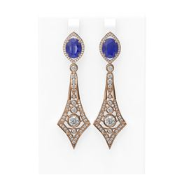 10.32 ctw Sapphire & Diamond Earrings 18K Rose Gold - REF-525A5N