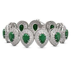 56.04 ctw Emerald & Diamond Victorian Bracelet 14K White Gold - REF-1745M5G