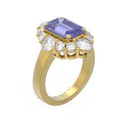 7.29 ctw Tanzanite & Diamond Ring 18K Yellow Gold - REF-518H2R