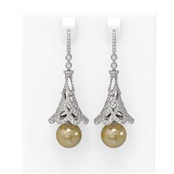 4.33 ctw Diamond & Pearl Earrings 18K White Gold - REF-390N9F