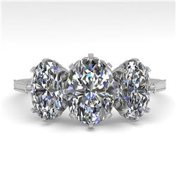 2 ctw Past Present Future VS/SI Oval Cut Diamond Ring 18k White Gold - REF-414M2G