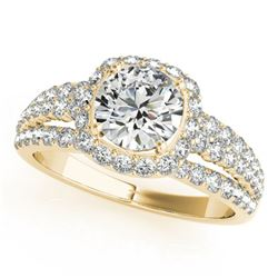 1.75 ctw Certified VS/SI Diamond Halo Ring 18k Yellow Gold - REF-189H5R