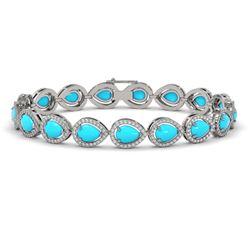 13.19 ctw Turquoise & Diamond Micro Pave Halo Bracelet 10k White Gold - REF-305X8A