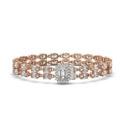 13.04 ctw Emerald Cut & Oval Diamond Bracelet 18K Rose Gold - REF-1261X9A
