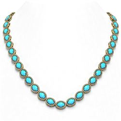36.208 ctw Turquoise & Diamond Micro Pave Halo Necklace 10k Yellow Gold - REF-553R5K