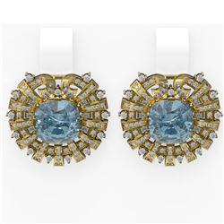 10.15 ctw Aquamarine & Diamond Earrings 18K Yellow Gold - REF-360G2W