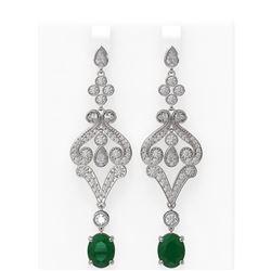 11.15 ctw Emerald & Diamond Earrings 18K White Gold - REF-541Y8X