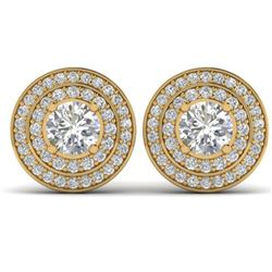 1.45 ctw VS/SI Diamond Art Deco Halo Stud Earrings 14k Yellow Gold - REF-126N2F