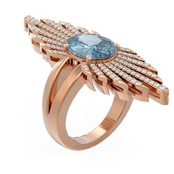 4.47 ctw Blue Topaz & Diamond Ring 18K Rose Gold - REF-263M6G