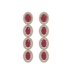 6.47 ctw Ruby & Diamond Micro Pave Halo Earrings 10k Rose Gold - REF-143K6Y