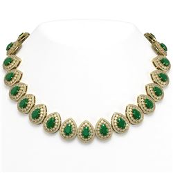 121.42 ctw Emerald & Diamond Victorian Necklace 14K Yellow Gold - REF-3909N3F
