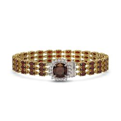 25.08 ctw Garnet & Diamond Bracelet 14K Yellow Gold - REF-281Y8X