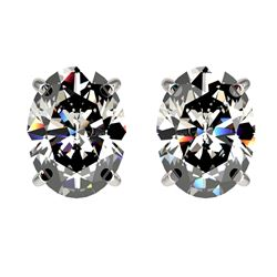2.50 ctw Certified VS/SI Quality Oval Diamond Stud Earrings 10k White Gold - REF-601N4F